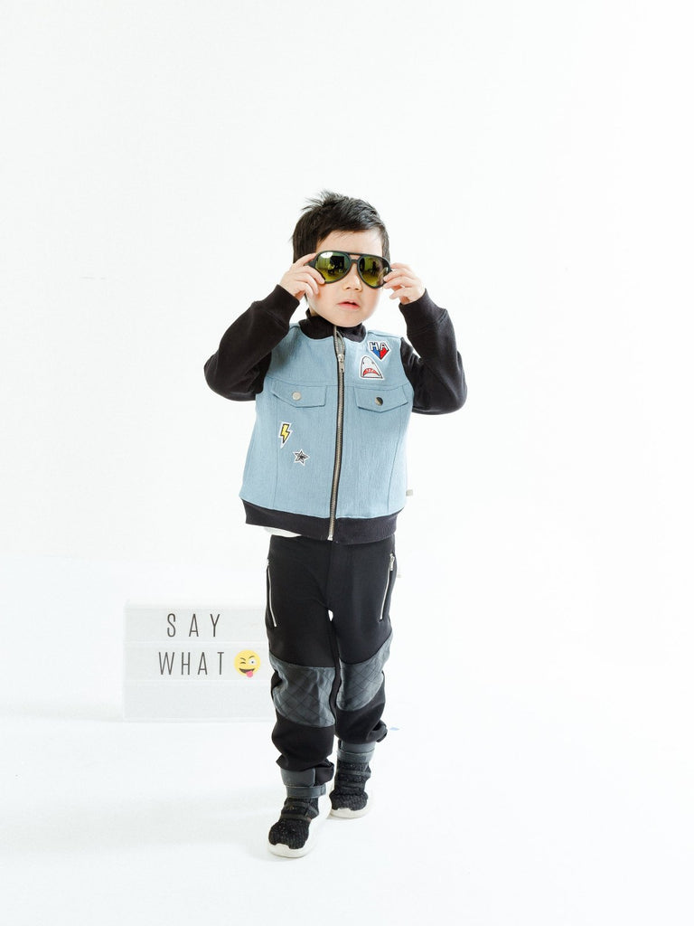 Boy's Mixed Media Patchwork Jacket and Pant Set