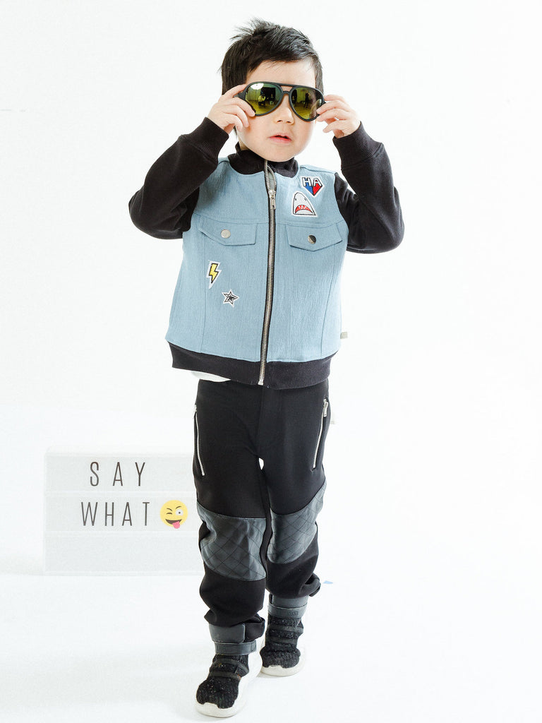 Boy's Mixed Media Slant Pocket Pant
