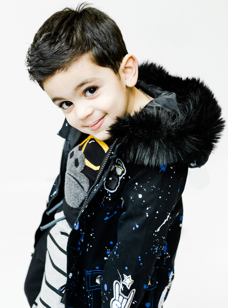 Boy's Fur Collar Galaxy Parka