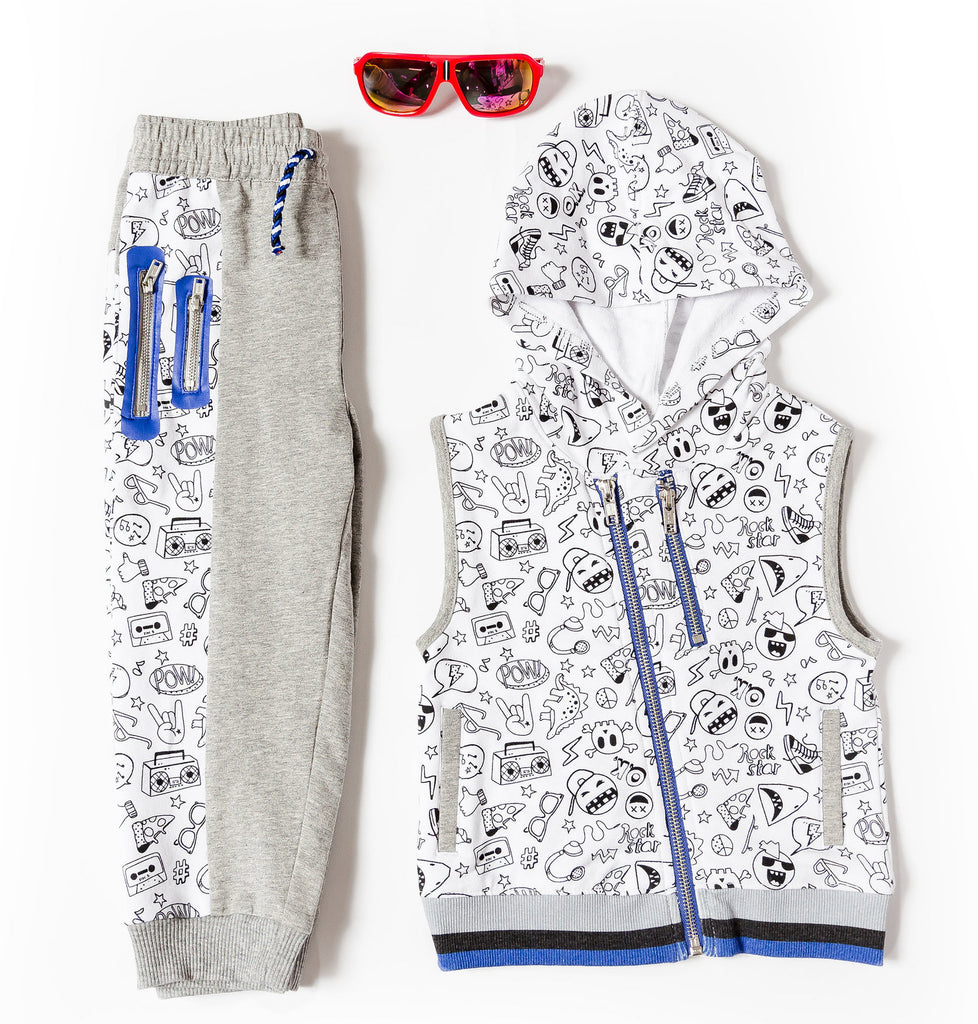 Boy's Printed Vest with Asymmetrical Zip and Jogger Set