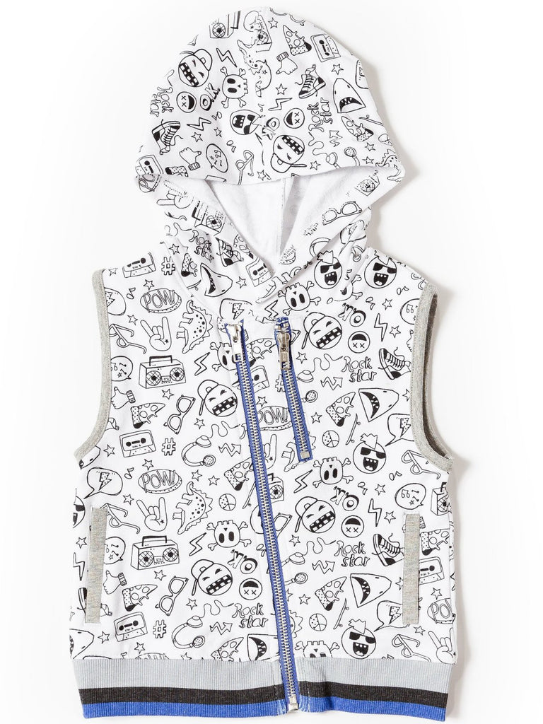 Kinderkind 2T 3T 4T 5T 6 7 kids apparel Baby clothes Children's clothing  Kids Fashion Kids clothing  toddler clothes machine washable  Playwear  Boys clothing  Boy's Printed Vest with Asymmetrical Zip Zip Up Vest with Hoodie Machine Washable 95% Cotton 5% Spandex French Terry