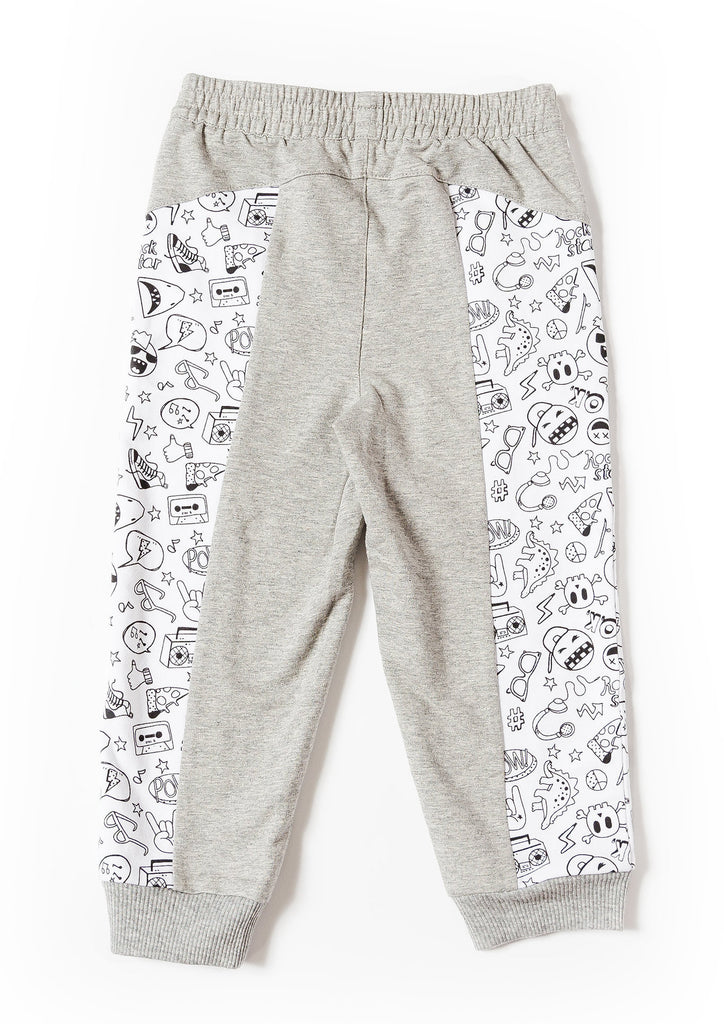 Boy's Printed Color Blocked Jogger