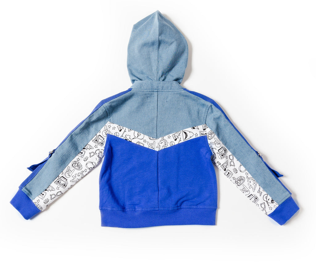 Boy's Color Blocked Zip-Up Hoodie
