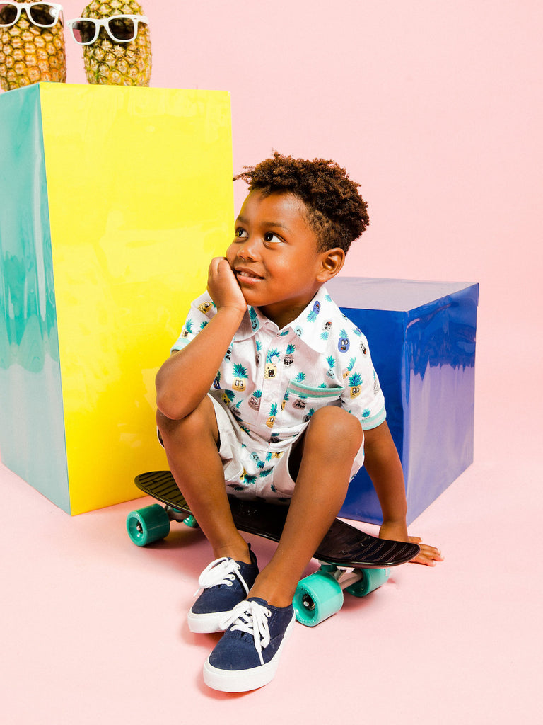 Boys Pineapple Button-Up Shirt and Short Set