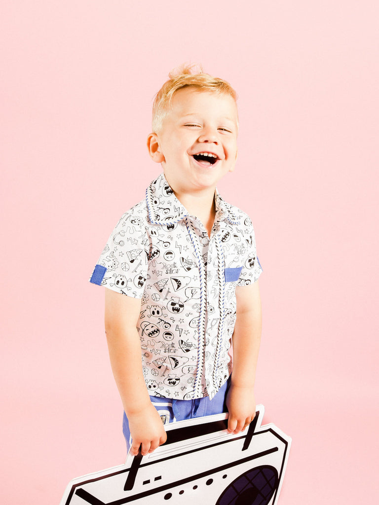 Kinderkind 2T 3T 4T 5T 6 7 kids apparel Baby clothes Children's clothing  Kids Fashion Kids clothing  toddler clothes machine washable  Playwear  Boys clothing  Boys Printed Button-Up Shirt and Short Set Button-Up Shirt with Fun Print! Contrast Grosgrain Detail on Sleeve and Front Patch Pocket Pull On Short  Elastic Waistband Contrast Color blocking Machine Washable Top: 100% Cotton Poplin Btm: 95% Cotton 5% Spandex French Terry