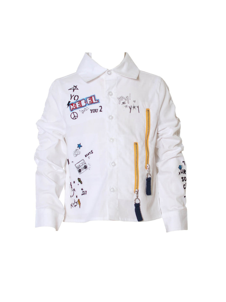 Boys Graphic Button Up Shirt