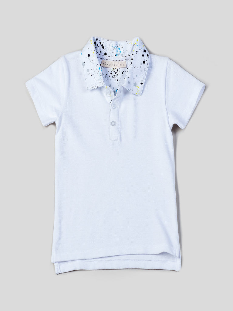 Boys Pique Polo with Printed Collar and Pull On Pants