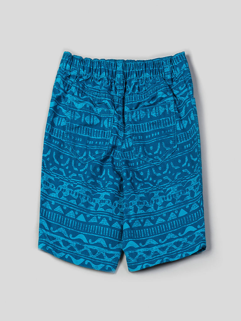 Boys Short Sleeve Printed Button Up and Printed Shorts