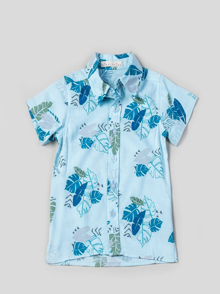 Boys Short Sleeve Printed Button Up