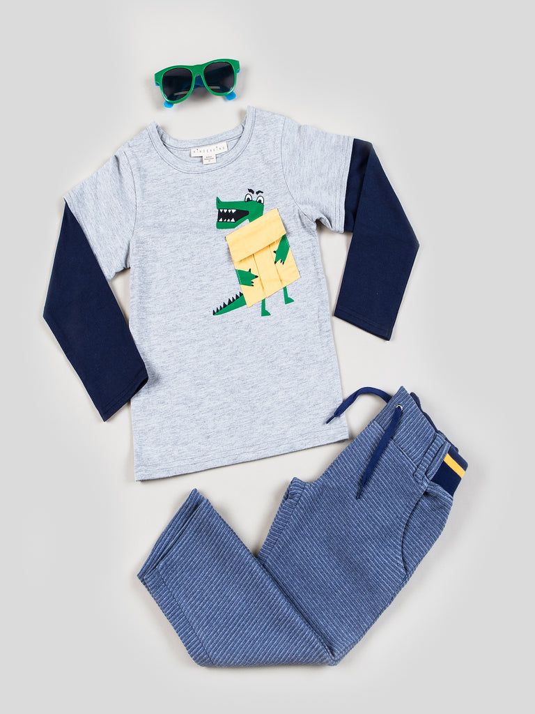 Boys Long Sleeve Tee and Pull-on Rib Tapered Leg Pant