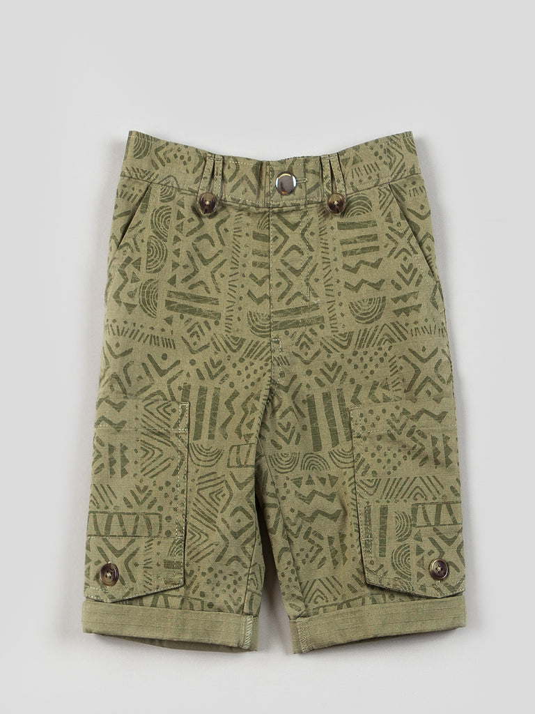 Boys Pull-on Green Canvas Shorts
