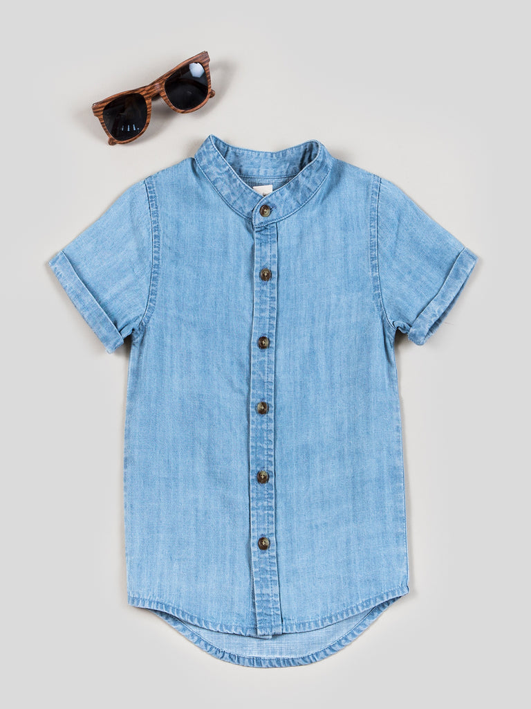 Boys Chambray Button Up Shirt