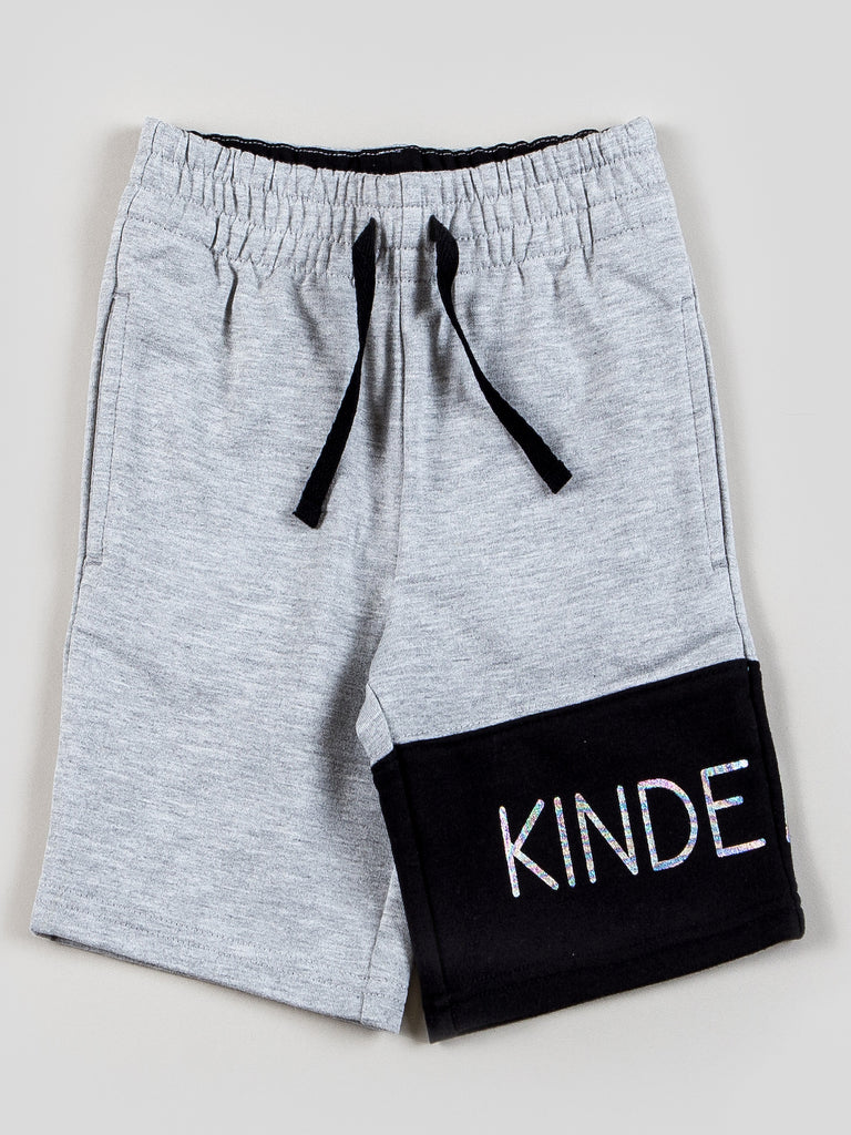 Kinderkind 2T 3T 4T 5T 6 7 kids apparel Baby clothes Children's clothing  Kids Fashion Kids clothing  toddler clothes machine washable  Playwear  Boys clothing  Boys Pull-on Knit Shorts Pull-on elastic waistband short with color blocked left leg  Foil graphic detail  Side welt pockets Machine washable 100% polyester mesh 100% polyester metallic microfiber 95% cotton 5% spandex french terry