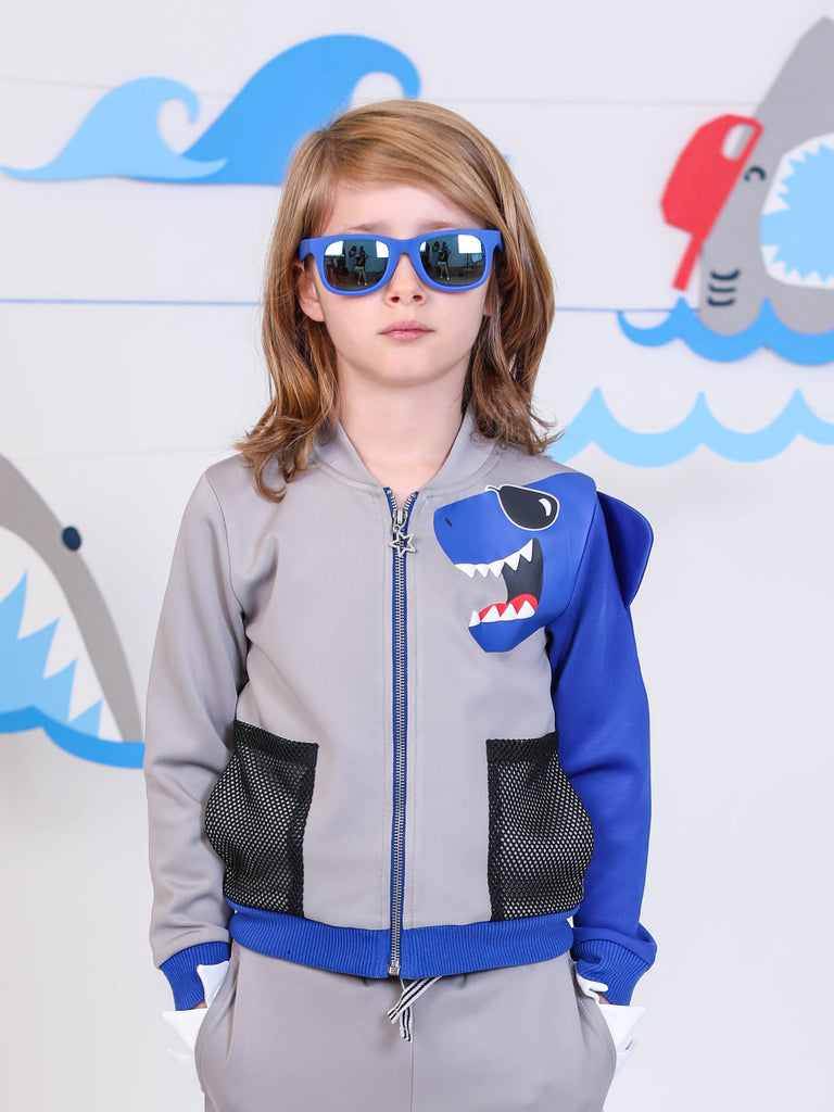 Boys Blue Shark Grey Scuba Hoodie