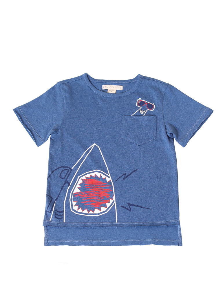 Kinderkind 2T 3T 4T 5T 6 7 kids apparel Baby clothes Children's clothing  Kids Fashion Kids clothing  toddler clothes machine washable  Playwear  Boys clothing  Boys Heather Hi Low Hem Shirt Crew neck t-shirt with hi low hem Double layered hem leave as raw edge Front patch pocket with hidden shark graphic Machine washable 60% polyester 40% cotton heather jersey