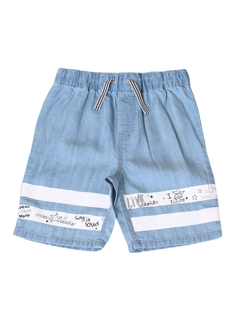 Kinderkind 2T 3T 4T 5T 6 7 kids apparel Baby clothes Children's clothing  Kids Fashion Kids clothing  toddler clothes machine washable  Playwear  Boys clothing  Boys Pull On Chambray Shorts Pull on shorts with elastic waistband Non functional drawstring  Back patch pocket Graphic stripe on leg and positive verbiage Machine washable  100% soft tencel chambray