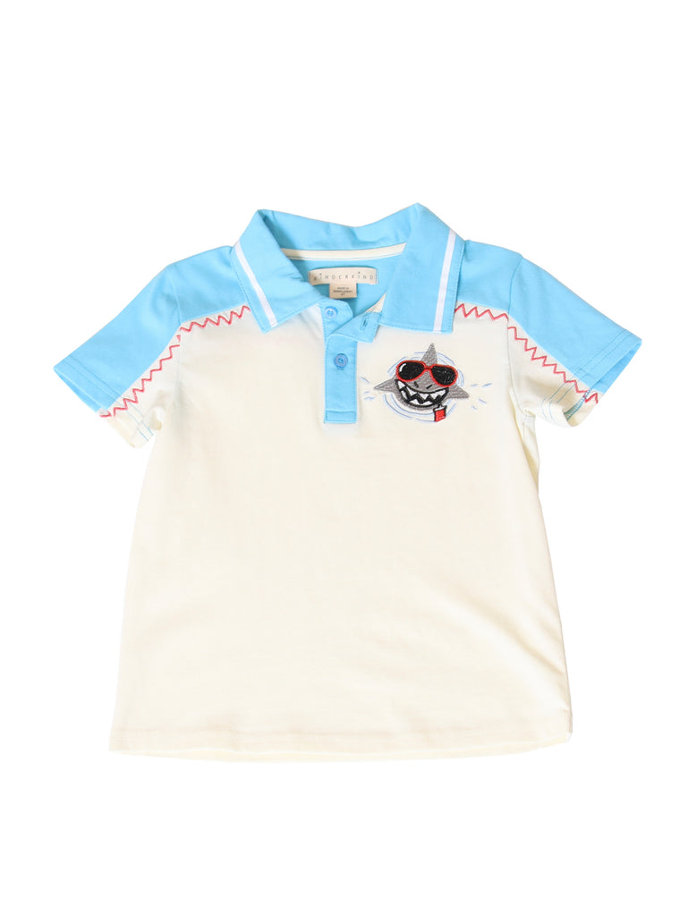 Boys Color Block Shark Polo Shirt