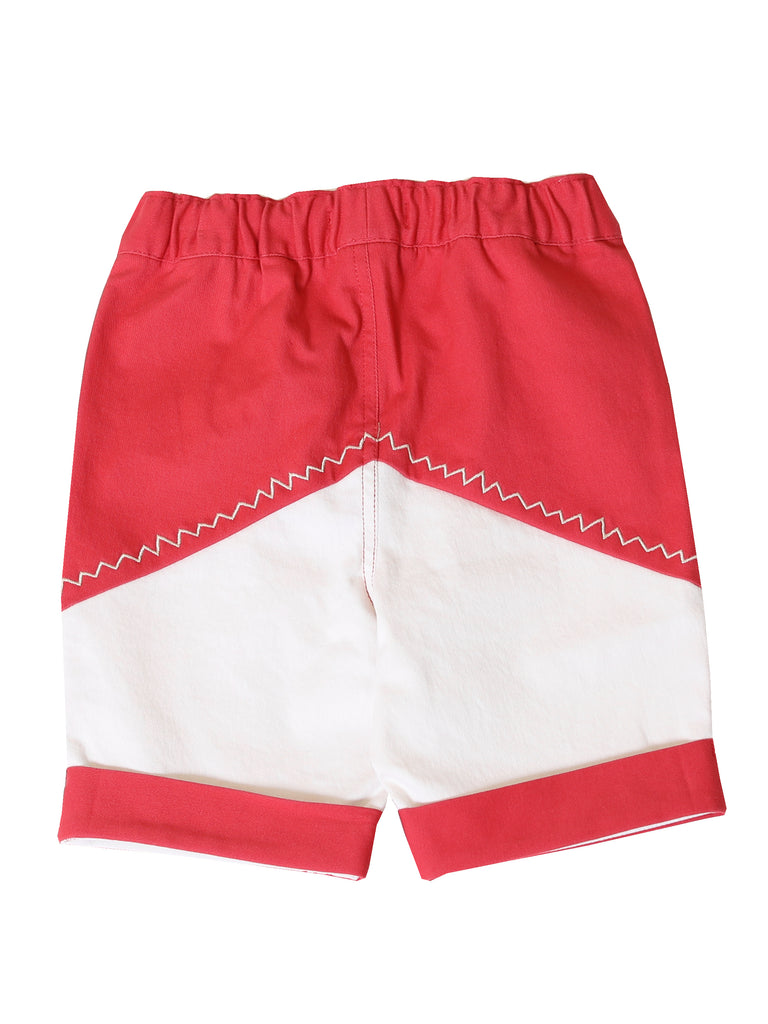 Boys Color Block Red Pull-On Shorts
