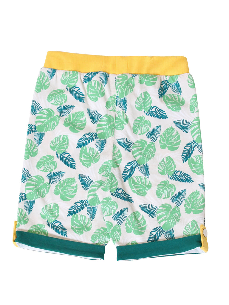 Boys Pull On Tropical Leaf Knit Shorts
