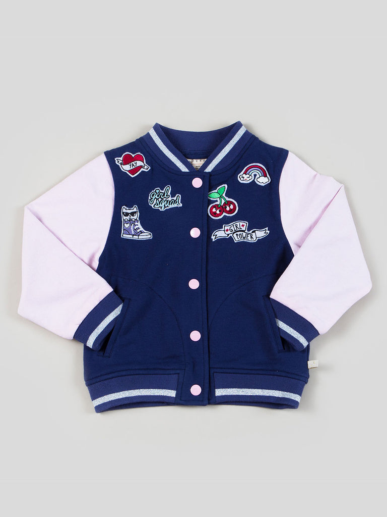 Girls Varsity Bomber with Patches