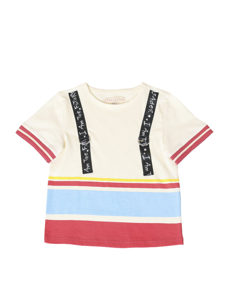 Kinderkind 2T 3T 4T 5T 6 7 kids apparel Baby clothes Children's clothing Kids Fashion Kids clothing toddler clothes machine washable Playwear Boys clothing Boys Stripe Short Sleeve T-Shirt Crew neck short sleeve t-shirt Printed grosgrain detail Rib cuff on short sleeves  Machine washable 100% cotton jersey