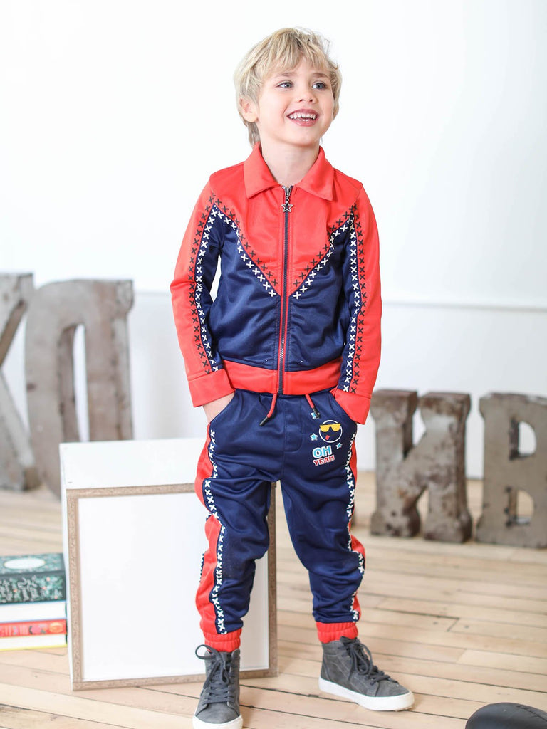 Kinderkind 2T 3T 4T 5T 6 7 kids apparel Baby clothes Children's clothing Kids Fashion Kids clothing toddler clothes machine washable Playwear Boys clothing Boys Tricot Jogger Pull on jogger Elastic cuff Slant pockets Graphic detail  Color blocking Red and Navy Machine washable 100% polyester tricot