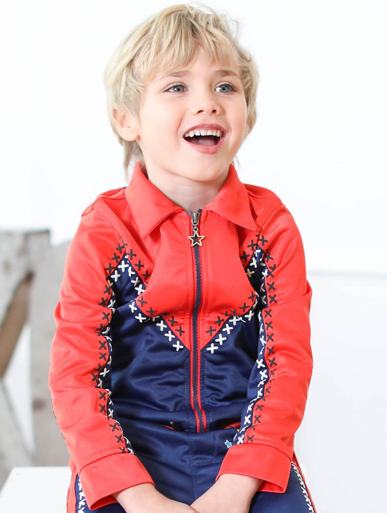 Kinderkind 2T 3T 4T 5T 6 7 kids apparel Baby clothes Children's clothing Kids Fashion Kids clothing toddler clothes machine washable Playwear Boys clothing Boys Tricot Zip-Up Jacket Zip up track jacket with collar Puff print graphic detail Color blocking Red and Navy Machine washable 100% polyester tricot