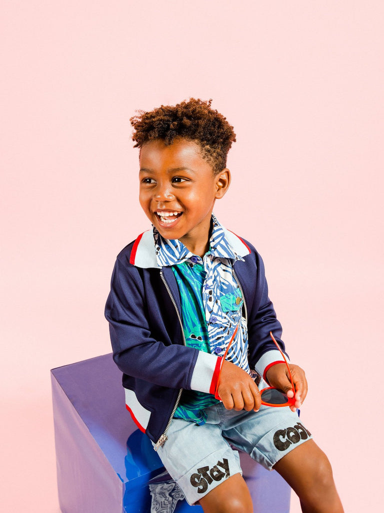 Kinderkind 2T 3T 4T 5T 6 7 kids apparel Baby clothes Children's clothing Kids Fashion Kids clothing toddler clothes machine washable Playwear Boys clothing Boys Two-Tone Fern Print Button-Up Shirt Button-Up Shirt with Fun Two Tone Color blocking Faux Pocket Flap Machine Washable 100% Rayon Challis