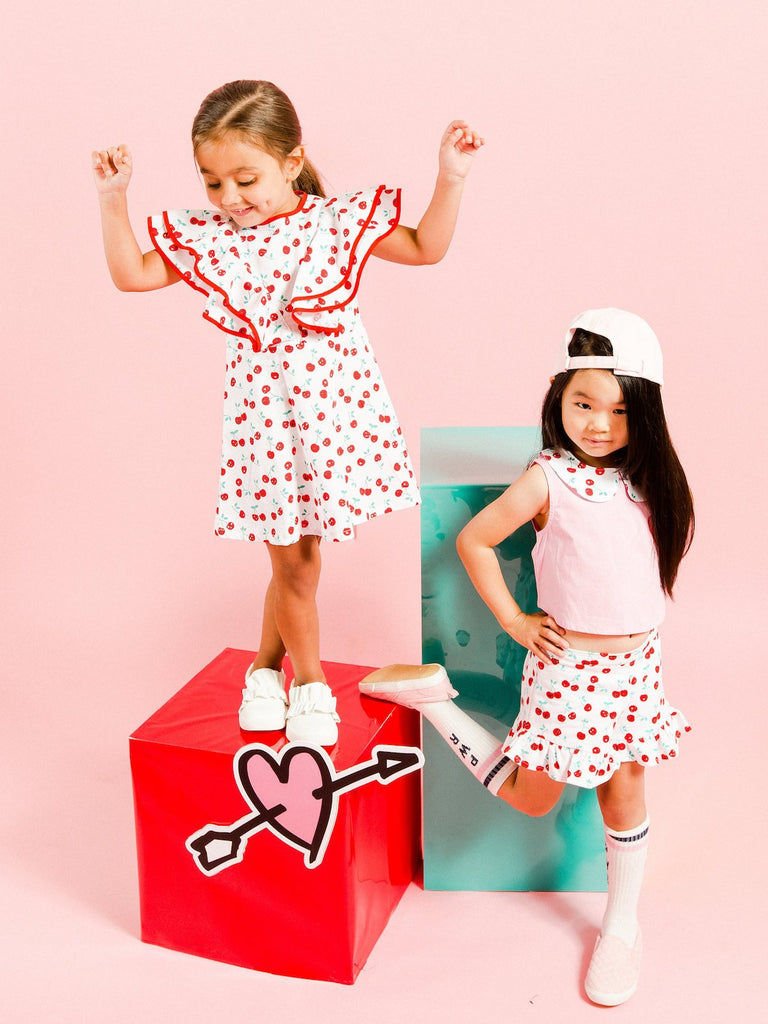 Kinderkind 2T 3T 4T 5T 6 7 kids apparel Baby clothes Children's clothing Kids Fashion Kids clothing toddler clothes machine washable Playwear Girls clothing Girls Leggings Girls dresses Girl's Cherry Print Ruffle Dress Key-Hole Back Button  Machine Washable  100% Cotton Poplin