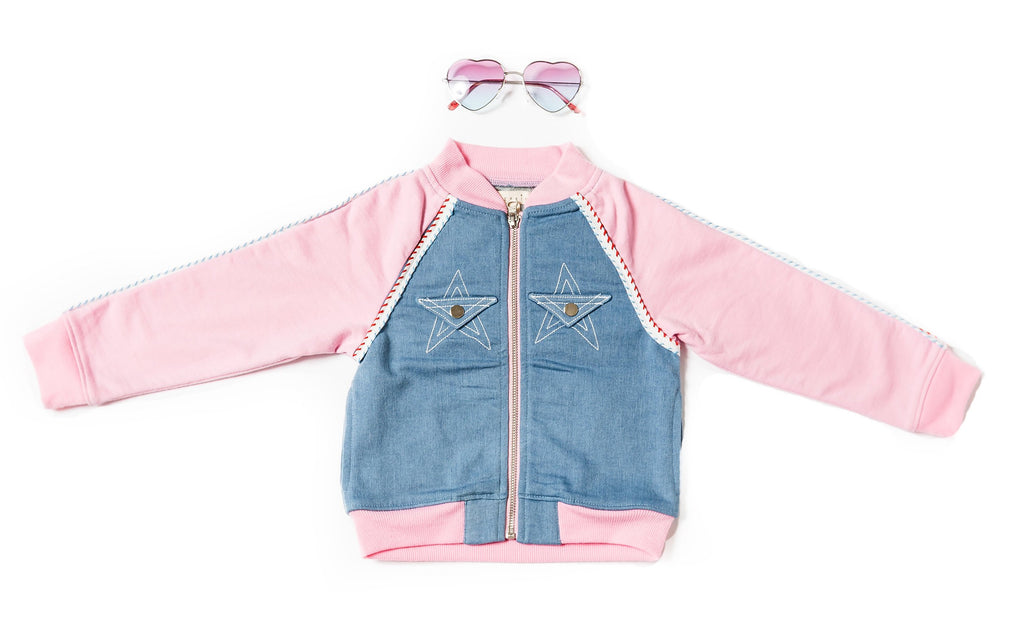 Kinderkind 2T 3T 4T 5T 6 7 kids apparel Baby clothes Children's clothing Kids Fashion Kids clothing toddler clothes machine washable Playwear Girls clothing Girls Leggings Girls dresses Girl's Faux Denim and French Terry Bomber Zip Up Jacket Machine Washable Cotton Spandex French Terry  Cotton Poly Spandex Knit Faux Denim