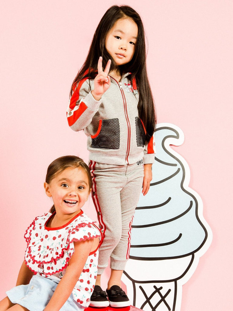 Kinderkind 2T 3T 4T 5T 6 7 kids apparel Baby clothes Children's clothing Kids Fashion Kids clothing toddler clothes machine washable Playwear Girls clothing Girls Leggings Girls dresses Girl's French Terry Zip Up Hoodie and Jogger Set Zip Up Hoodie Adjustable Hood Mesh Front Pockets Elastic Waistband Machine Washable 95% Cotton 5% Spandex French Terry