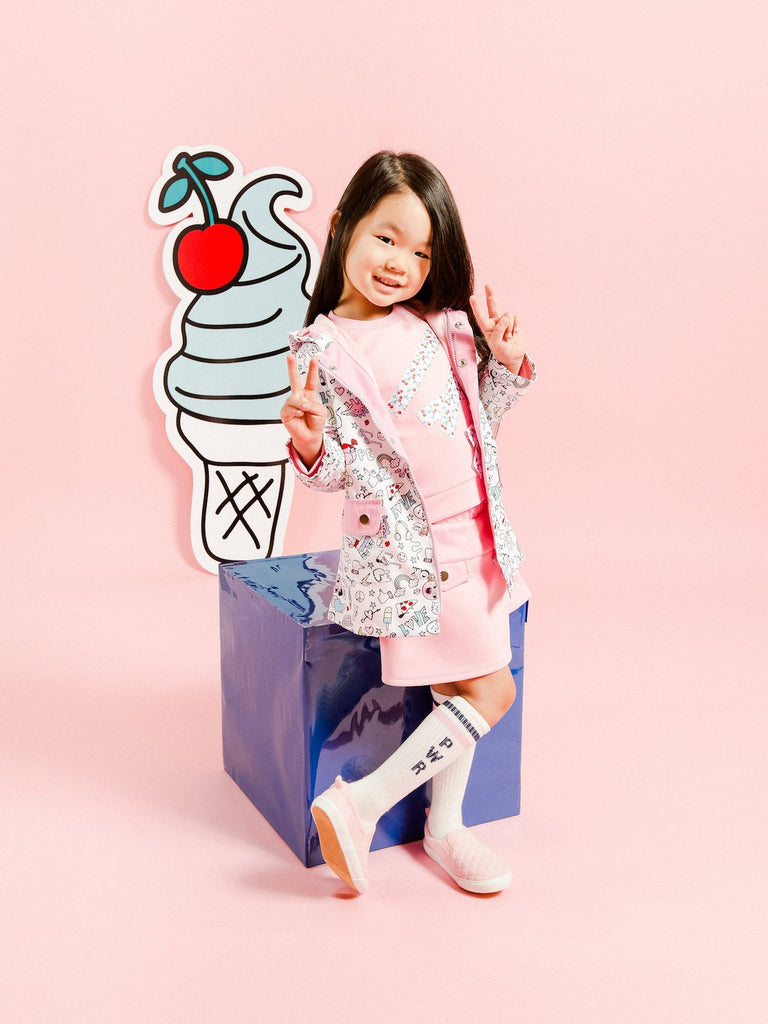 Kinderkind 2T 3T 4T 5T 6 7 kids apparel Baby clothes Children's clothing Kids Fashion Kids clothing toddler clothes machine washable Playwear Girls clothing Girls Leggings Girls dresses Girl's Printed Microfiber Parka ZIp-up Jacket Front Patch Pockets w/ Flap Machine Washable 100% Poly Microfiber