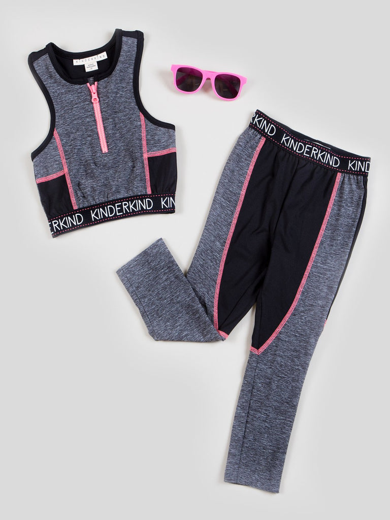 girls athletic top and legging set