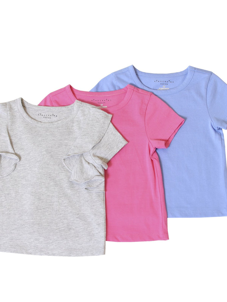 Kinderkind 2T 3T 4T 5T 6 7 kids apparel Baby clothes Children's clothing Kids Fashion Kids clothing toddler clothes machine washable Playwear Girls clothing Girls Leggings Girls dresses Girls Basic 3-Pack Solid Hot Pink, Gray, Blue Short-Sleeve Tee Shirts 100% Cotton Jersey Crew Neck Pink T-shirt with ruffle detail Machine Washable Super soft jersey knit for extra comfort Crew Neck Pink T-shirt with ruffle detail