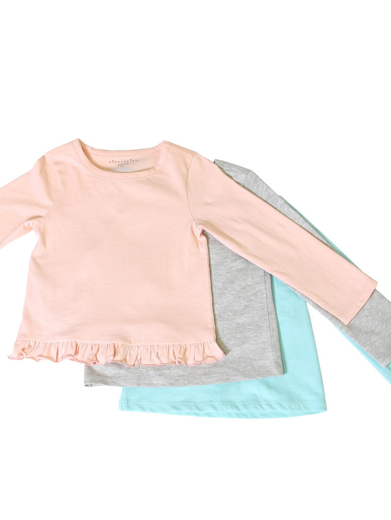 Kinderkind 2T 3T 4T 5T 6 7 kids apparel Baby clothes Children's clothing Kids Fashion Kids clothing toddler clothes machine washable Playwear Girls clothing Girls Leggings Girls dresses Girls Basic 3-Pack Solid Pink, Mint, Gray Long-Sleeve Tee Shirts 100% Cotton Jersey Crew Neck Pink T-shirt with ruffle detail Machine Washable Super soft jersey knit for extra comfort Crew Neck Pink T-shirt with ruffle detail hem