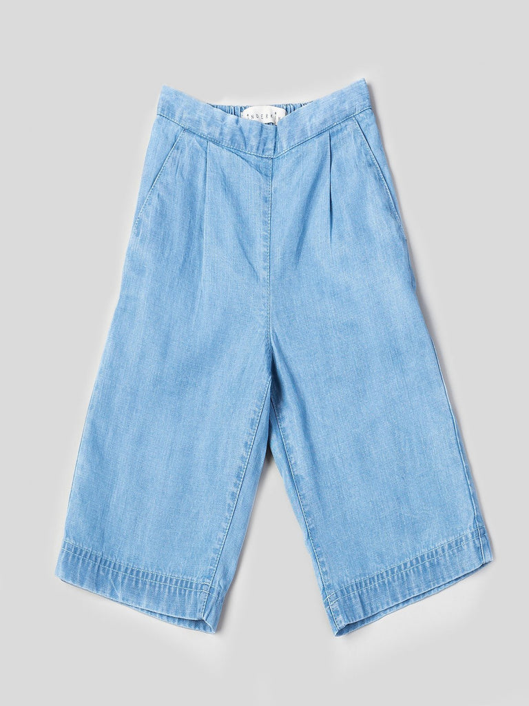 Kinderkind 2T 3T 4T 5T 6 7 kids apparel Baby clothes Children's clothing Kids Fashion Kids clothing toddler clothes machine washable Playwear Girls clothing Girls Leggings Girls dresses Girls Chambray Culottes Pull-on elastic waistband wide leg culottes Slant pockets Machine washable 100% tencel chambray