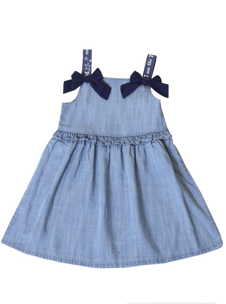 Kinderkind 2T 3T 4T 5T 6 7 kids apparel Baby clothes Children's clothing Kids Fashion Kids clothing toddler clothes machine washable Playwear Girls clothing Girls Leggings Girls dresses Girls Chambray Dress Crew neck pull on top  Shirred ruffle at waist  Grosgrain shoulder trim Printed grosgrain straps  Invisible side zipper  Machine washable 100% tencel chambray