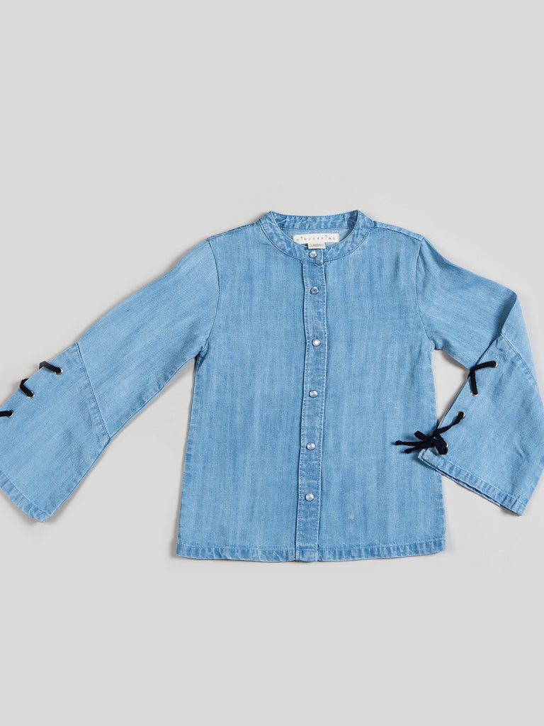 Kinderkind 2T 3T 4T 5T 6 7 kids apparel Baby clothes Children's clothing Kids Fashion Kids clothing toddler clothes machine washable Playwear Girls clothing Girls Leggings Girls dresses Girl's Chambray Tie Detail Blouse Button up bell sleeve top with tie details Machine Washable 100% Tencel