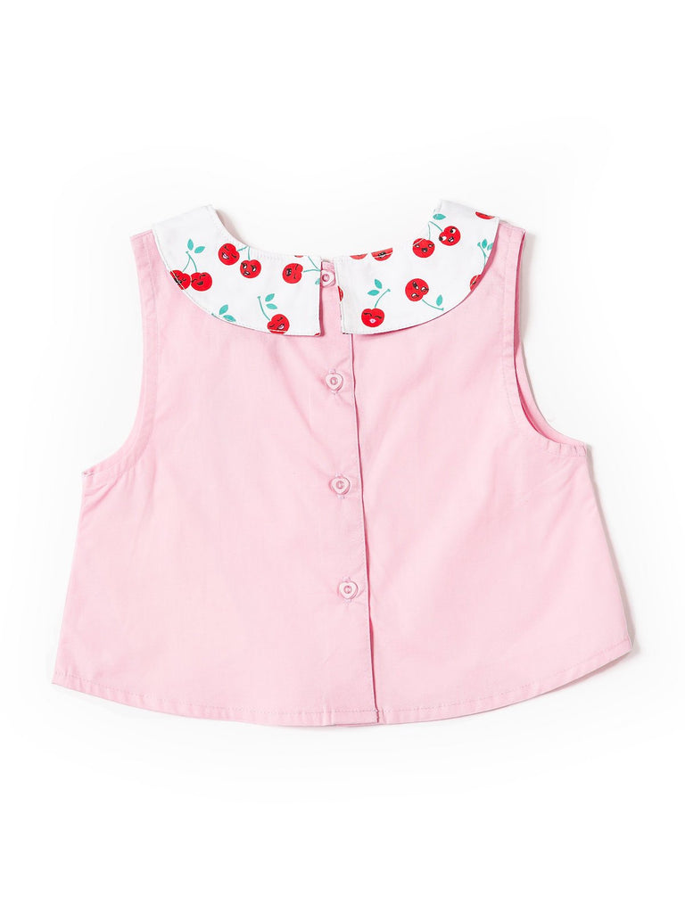 Kinderkind 2T 3T 4T 5T 6 7 kids apparel Baby clothes Children's clothing Kids Fashion Kids clothing toddler clothes machine washable Playwear Girls clothing Girls Leggings Girls dresses Girls Cherry Collar Top Peter-pan Collar Sleeveless Top Back Button Detail Cherry Sequin Machine Washable 100% Cotton Poplin