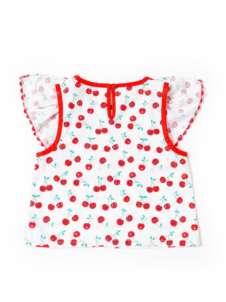 Kinderkind 2T 3T 4T 5T 6 7 kids apparel Baby clothes Children's clothing Kids Fashion Kids clothing toddler clothes machine washable Playwear Girls clothing Girls Leggings Girls dresses Girls Cherry Ruffle Top Ruffle Detail Button Key Hole Detail Machine Washable 100% Cotton Poplin
