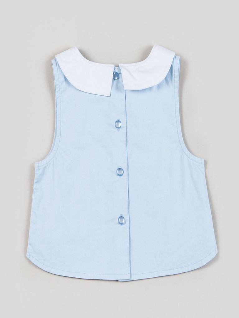 Kinderkind 2T 3T 4T 5T 6 7 kids apparel Baby clothes Children's clothing Kids Fashion Kids clothing toddler clothes machine washable Playwear Girls clothing Girls Leggings Girls dresses Girls Collar Sleeveless Top Butterfly embroidered collar Back button closure  Machine washable 100% cotton poplin