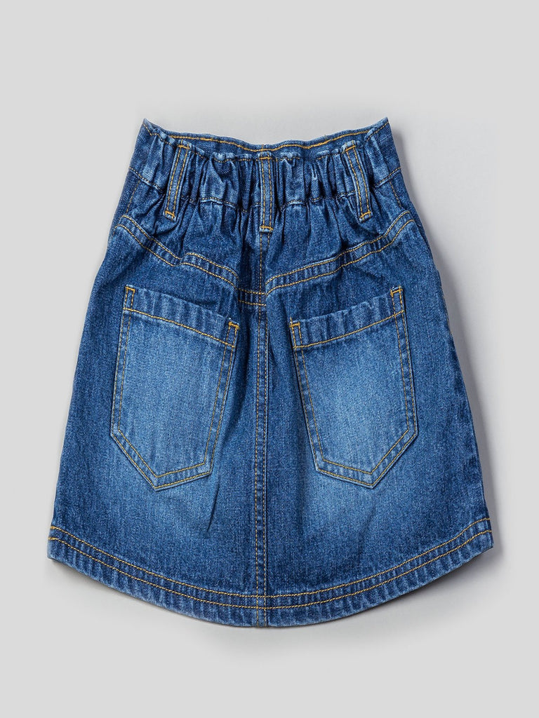 Kinderkind 2T 3T 4T 5T 6 7 kids apparel Baby clothes Children's clothing Kids Fashion Kids clothing toddler clothes machine washable Playwear Girls clothing Girls Leggings Girls dresses Girls Denim Skirt Elastic waistband pull on denim skirt  Back patch pockets  Machine washable 100% cotton denim