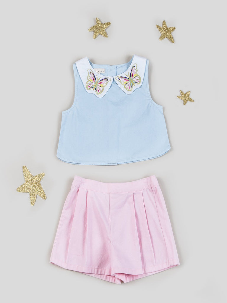 Kinderkind 2T 3T 4T 5T 6 7 kids apparel Baby clothes Children's clothing Kids Fashion Kids clothing toddler clothes machine washable Playwear Girls clothing Girls Leggings Girls dresses Girls Embroidered Collar Sleeveless Top and Pull-On Pleated Twill Shorts Butterfly embroidered collar Back button closure  Pull-on back elastic waistband shorts Front pleats  Wide-leg Machine washable 100% cotton poplin 100% cotton twill