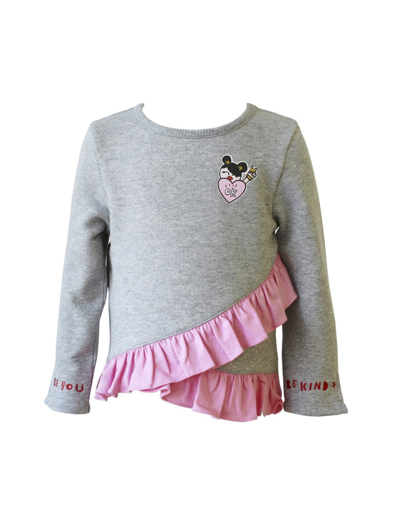 Kinderkind 2T 3T 4T 5T 6 7 kids apparel Baby clothes Children's clothing Kids Fashion Kids clothing toddler clothes machine washable Playwear Girls clothing Girls Leggings Girls dresses Girls Fleece Pullover with Ruffle Detail Long sleeve Pullover with side slit at sleeve cuff Positive verbiage embroidery at sleeve cuff Asymmetrical hem with ruffle detail Heather Grey Machine washable 60% polyester 40% cotton brushed fleece