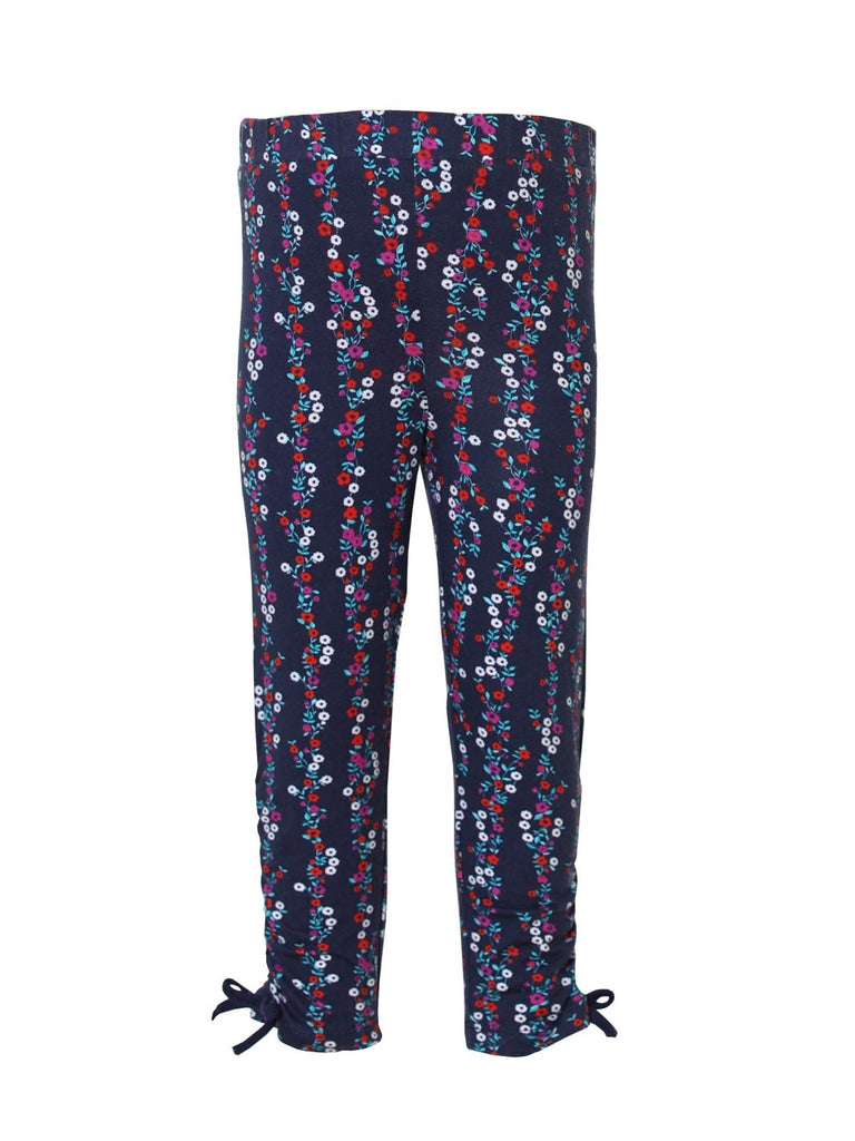 Kinderkind 2T 3T 4T 5T 6 7 kids apparel Baby clothes Children's clothing  Kids Fashion Kids clothing  toddler clothes machine washable  Playwear  Girls clothing  Girls Leggings Girls dresses  Girls Floral Legging Navy floral print legging Ruching at leg bottom outer seam Machine washable 95% cotton 5% spandex jersey