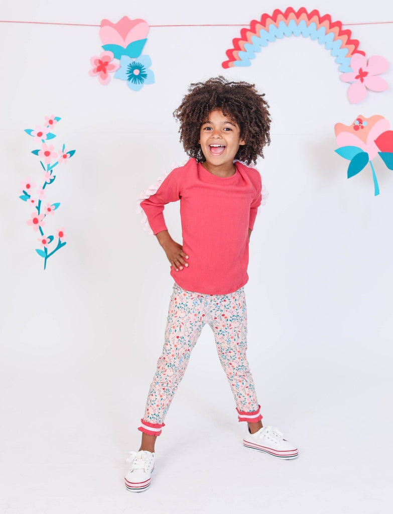 Kinderkind 2T 3T 4T 5T 6 7 kids apparel Baby clothes Children's clothing  Kids Fashion Kids clothing  toddler clothes machine washable  Playwear  Girls clothing  Girls Leggings Girls dresses  Girls Floral Legging Pull on leggings with elastic waistband  Contrast rouching at hem with contrast grosgrain Machine washable 95% cotton 5% spandex
