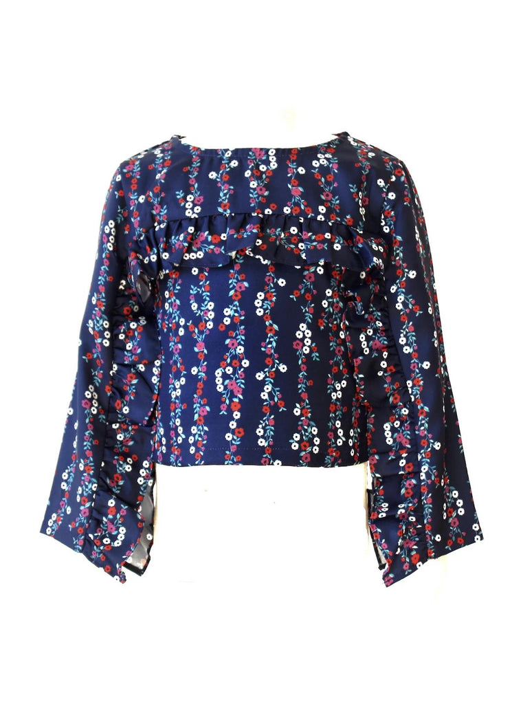 Kinderkind 2T 3T 4T 5T 6 7 kids apparel Baby clothes Children's clothing  Kids Fashion Kids clothing  toddler clothes machine washable  Playwear  Girls clothing  Girls Leggings Girls dresses  Girls Floral Ruffle Top Floral ruffle top Key hole back 100% poly twill