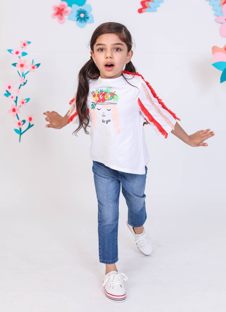 Kinderkind 2T 3T 4T 5T 6 7 kids apparel Baby clothes Children's clothing  Kids Fashion Kids clothing  toddler clothes machine washable  Playwear  Girls clothing  Girls Leggings Girls dresses  Girls Fringe Top Pull on top with drop shoulder  and hi-low hem Fringe trim applique  Split back seam  Machine washable  100% cotton jersey