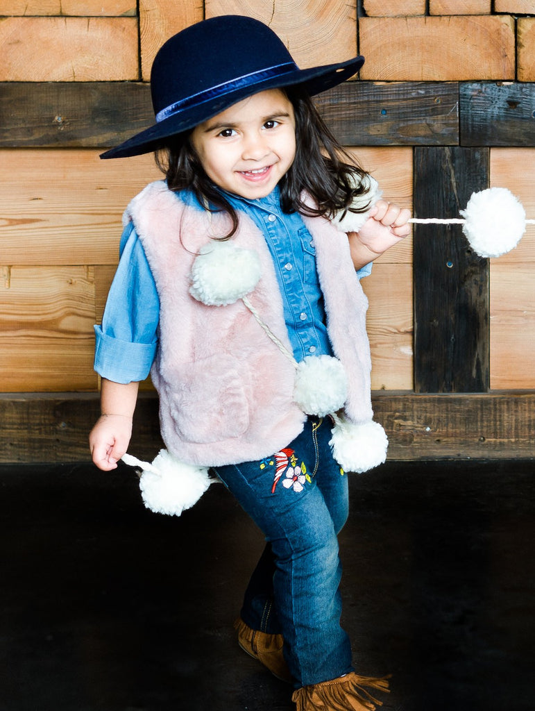 Kinderkind 2T 3T 4T 5T 6 7 kids apparel Baby clothes Children's clothing  Kids Fashion Kids clothing  toddler clothes machine washable  Playwear  Girls clothing  Girls Leggings Girls dresses  Girls Fur Vest, Button Up Shirt and Embroidered Pull On Jeans Fur vest with hood  Long sleeve button up shirt  Pull on jeans with elastic waistband and embroidery detail Back patch pockets  Machine washable 100% polyester fur 100% tencel chambray 72% cotton 27% polyester 1% spandex denim