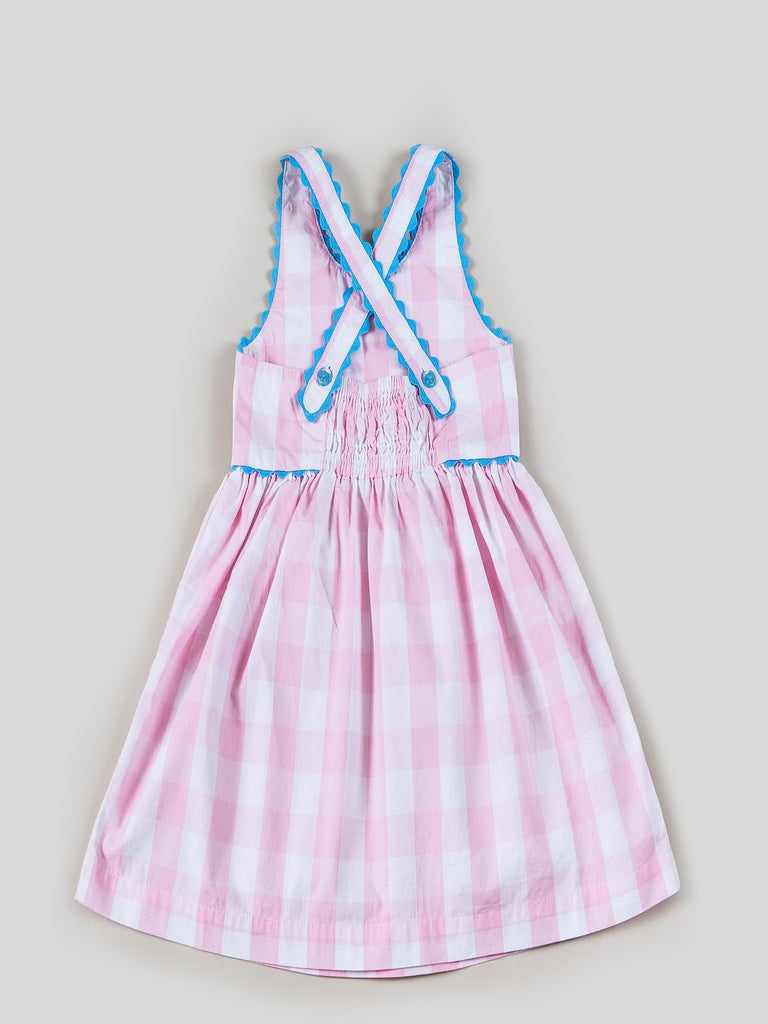 Kinderkind 2T 3T 4T 5T 6 7 kids apparel Baby clothes Children's clothing  Kids Fashion Kids clothing  toddler clothes machine washable  Playwear  Girls clothing  Girls Leggings Girls dresses  Girls Gingham Yarn Dye Ric Rac Dress Sleeveless dress with criss-cross back  Ric-rac trim on strap and yoke Front patch pockets with embroidery Machine washable 100% cotton poplin